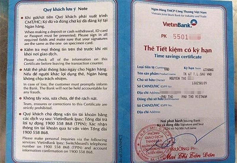Ngân hàng TMCP Công thương Việt Nam- Vietinbank chỉ cần 100.000VND có thể mở sổ tiết kiệm