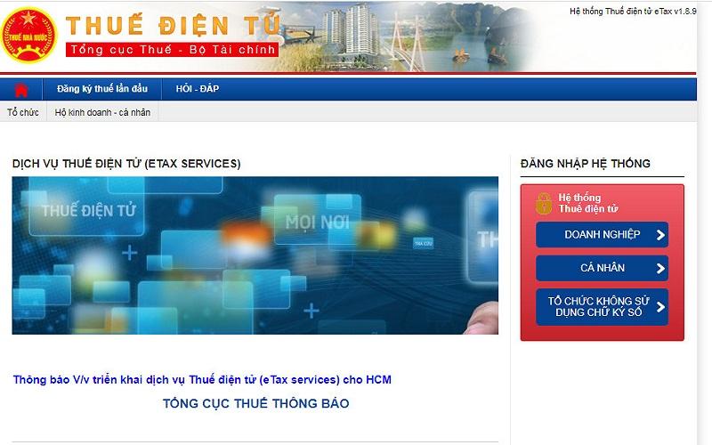 Bạn cần truy cập vào trang nộp thuế điện tử chính thức