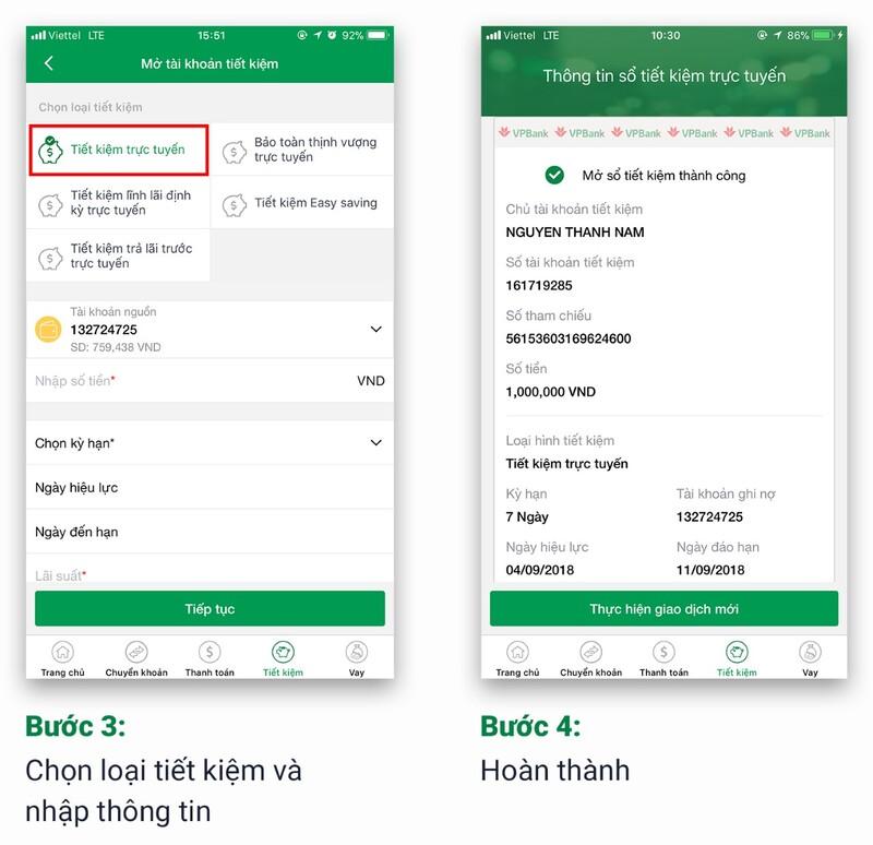 Khách hàng chọn 1 trong 5 hình thức gửi tiền tiết kiệm online trên App VPBank