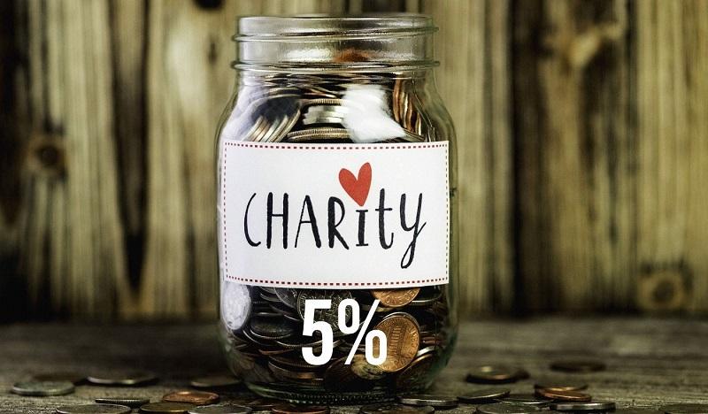 Tài khoản từ thiện chiếm 5%